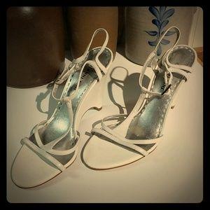 Gianni Bini White Leather Wedge Sandals